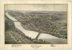 Altoona PA Railroad Car Shops Antique Birdseye Map; 1895