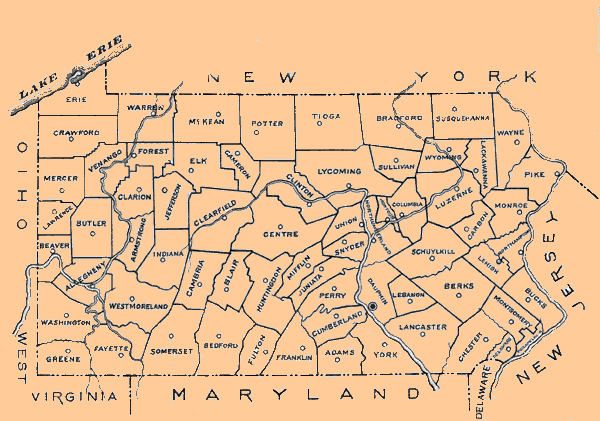 PA State Archives Pennsylvania County Municipalities Map - Pennsylvania county map