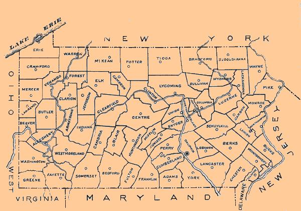 Pa State Archives Pennsylvania County Municipalities Map