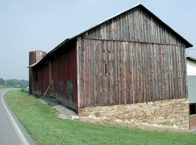 Image Of A Gable Roofed Barn, Which Appears As An Inverted V